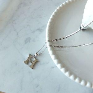 SALE Metal Silver Letter Pendant Necklace - H